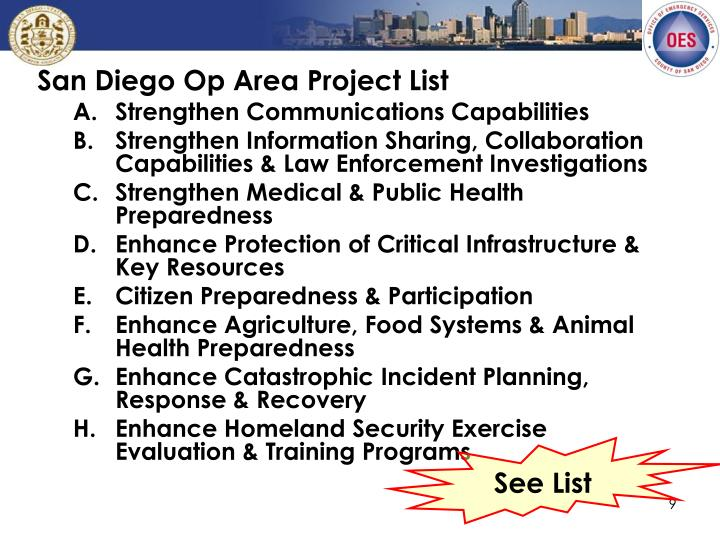 San Diego Op Area Project List