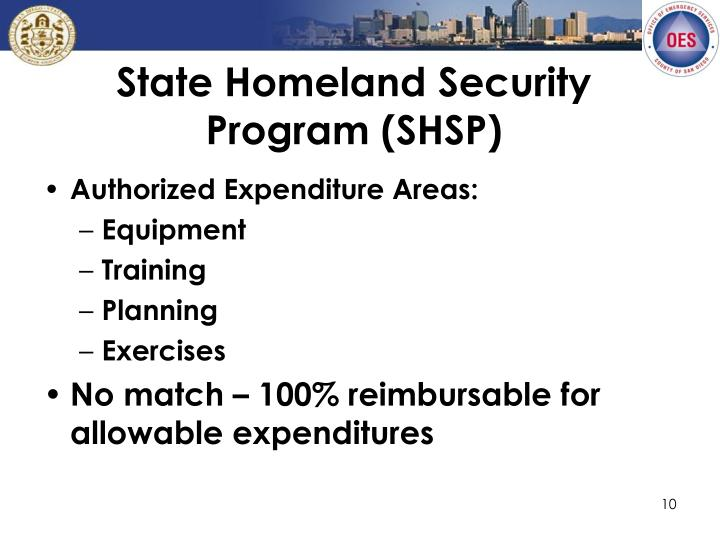 State Homeland Security Program (SHSP)