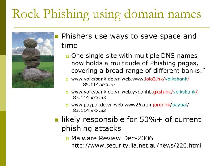 Rock Phishing using domain names