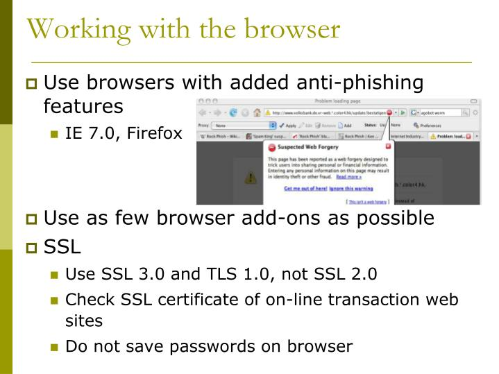 Working with the browser