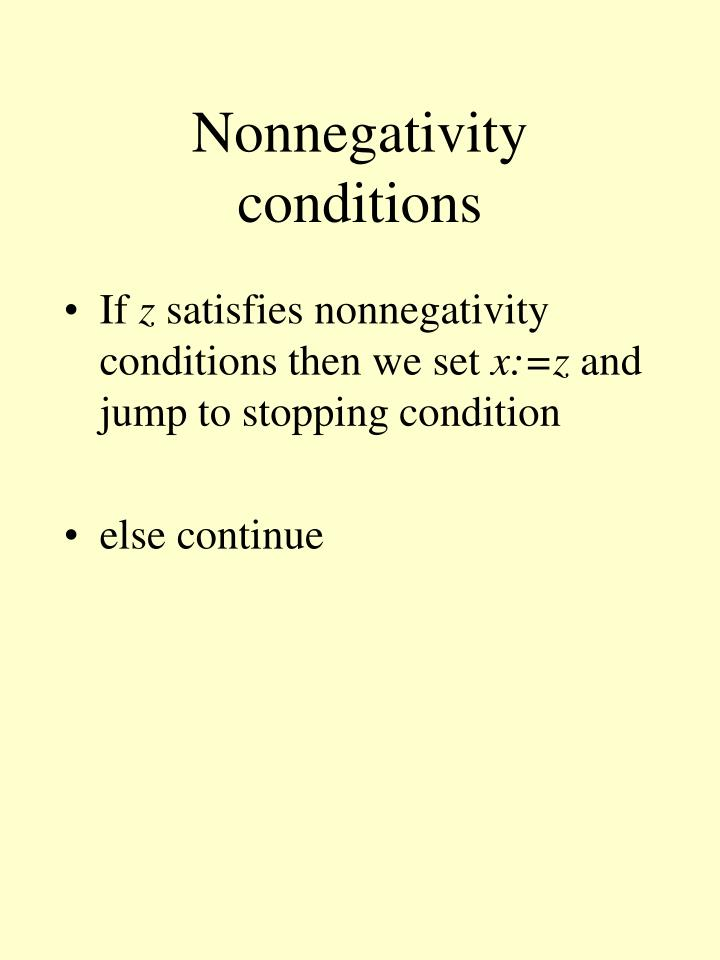 Nonnegativity conditions