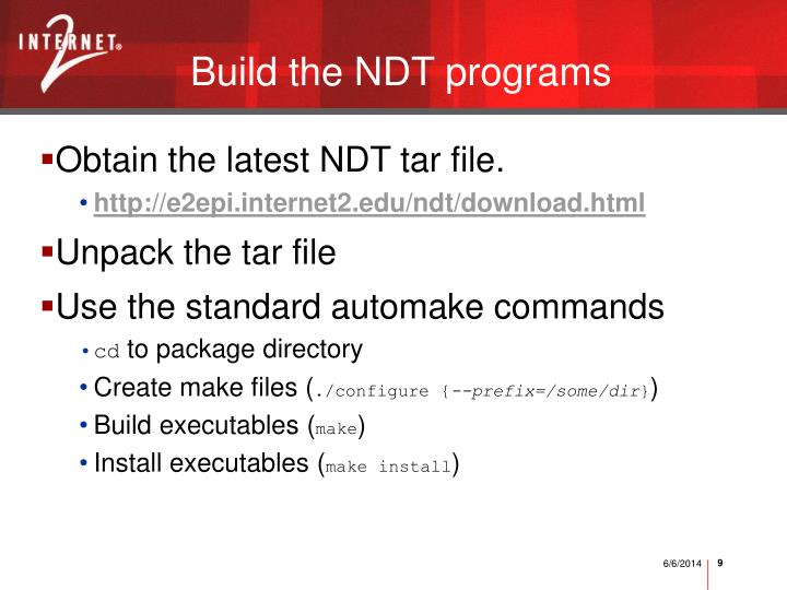 Build the NDT programs