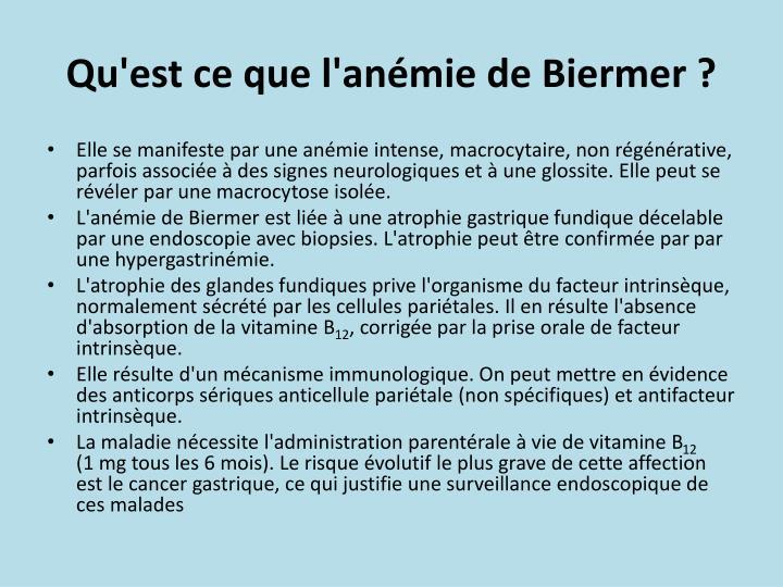 Qu'est ce que l'anémie de Biermer ?