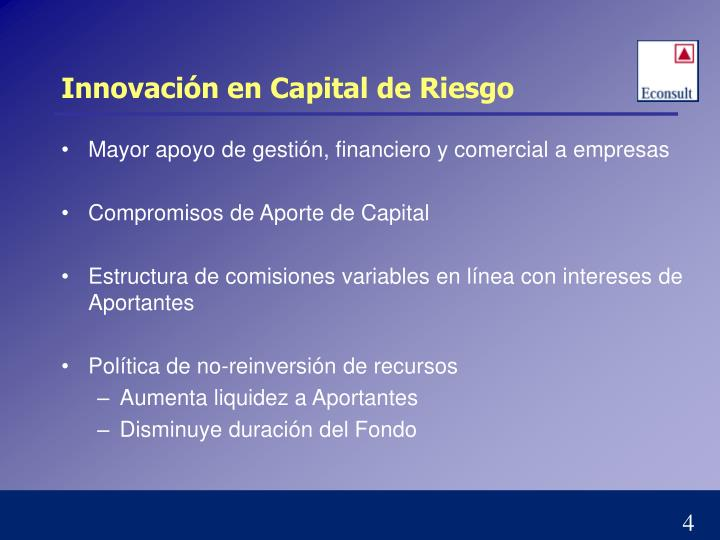 Innovación en Capital de Riesgo