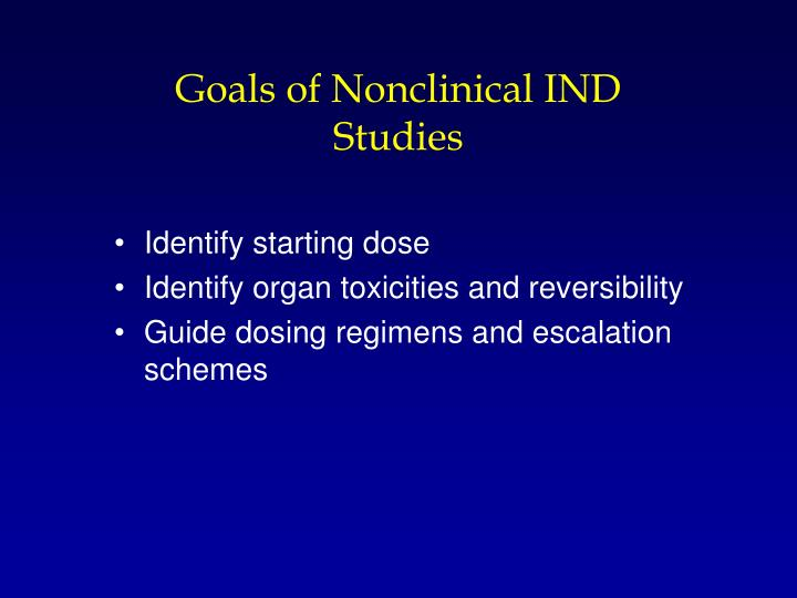 Goals of Nonclinical IND Studies