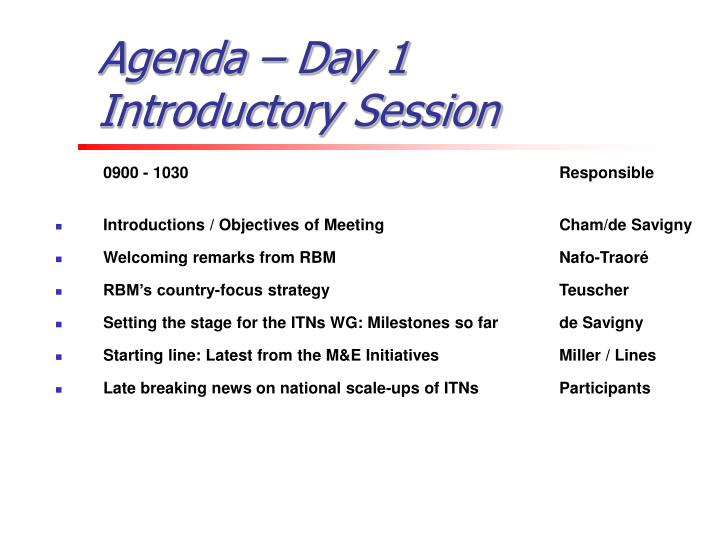 Agenda day 1 introductory session