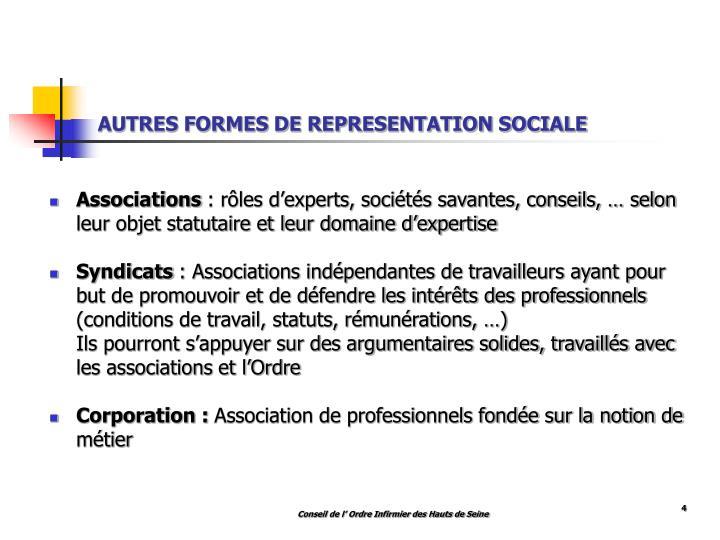 AUTRES FORMES DE REPRESENTATION SOCIALE
