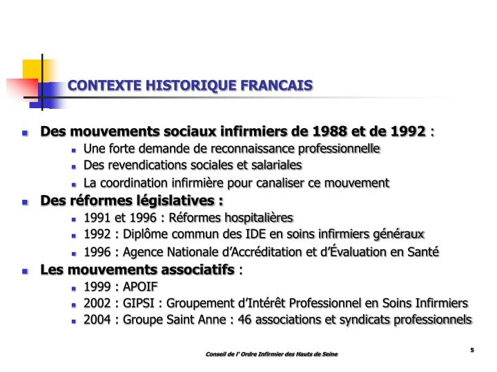 CONTEXTE HISTORIQUE FRANCAIS