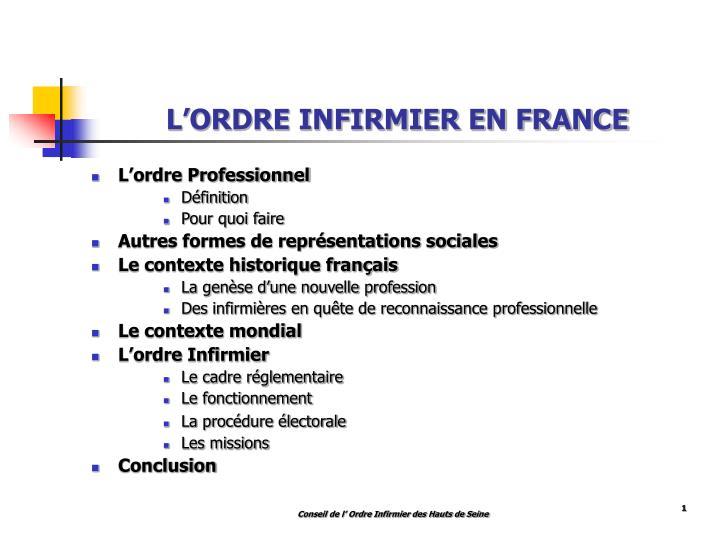 L'ORDRE INFIRMIER EN FRANCE