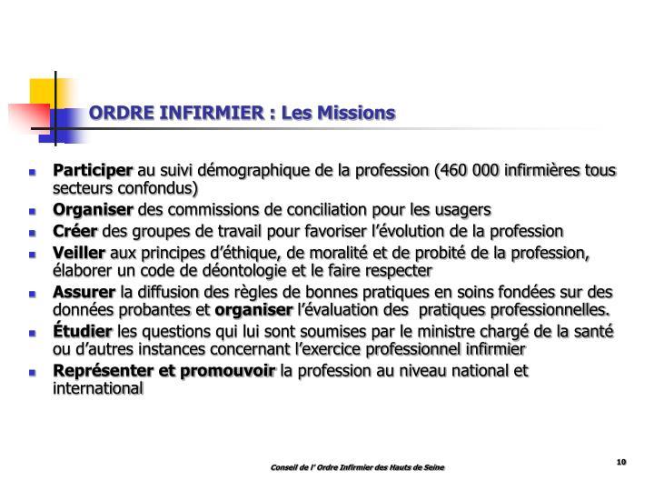 ORDRE INFIRMIER : Les Missions