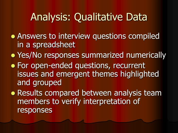 Analysis: Qualitative Data