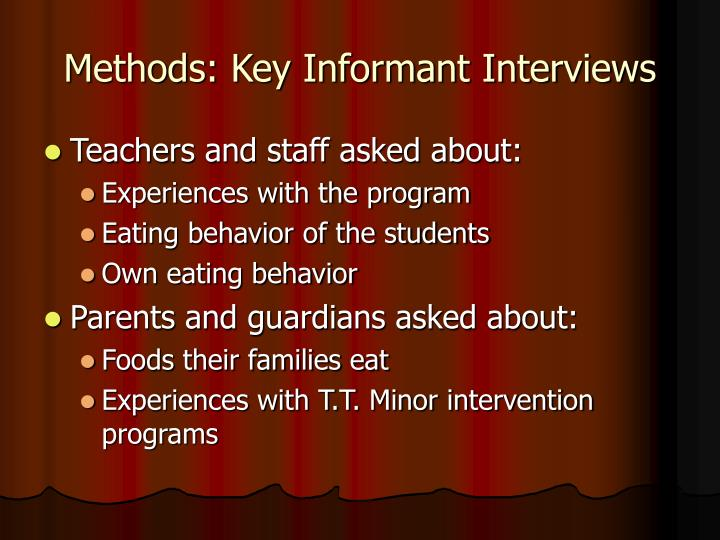 Methods: Key Informant Interviews