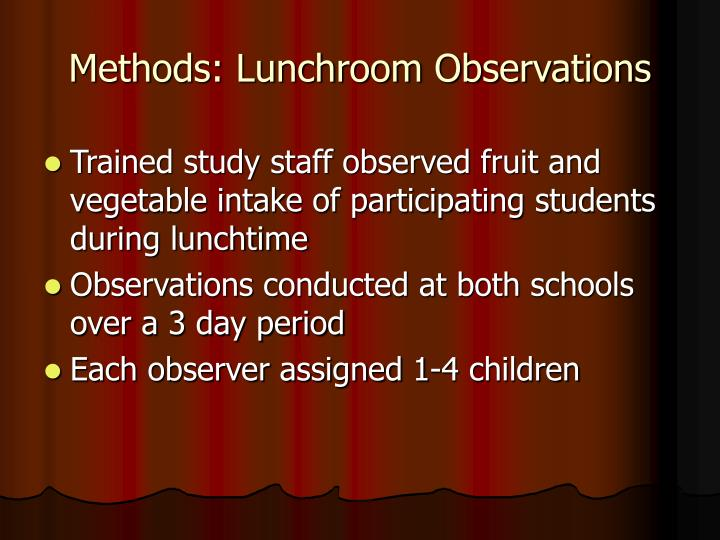 Methods: Lunchroom Observations