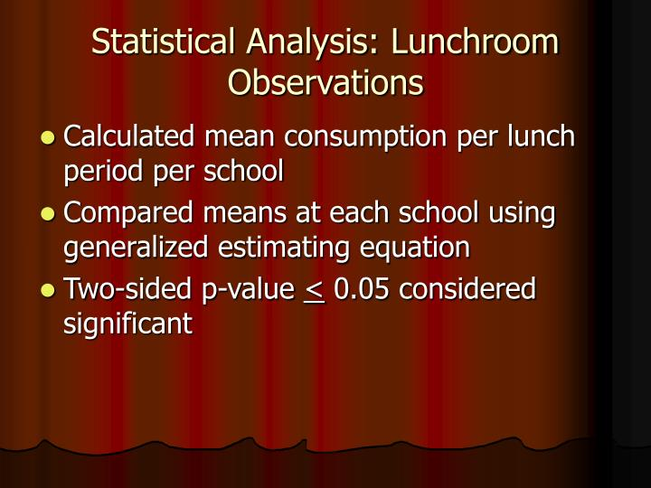 Statistical Analysis: Lunchroom Observations