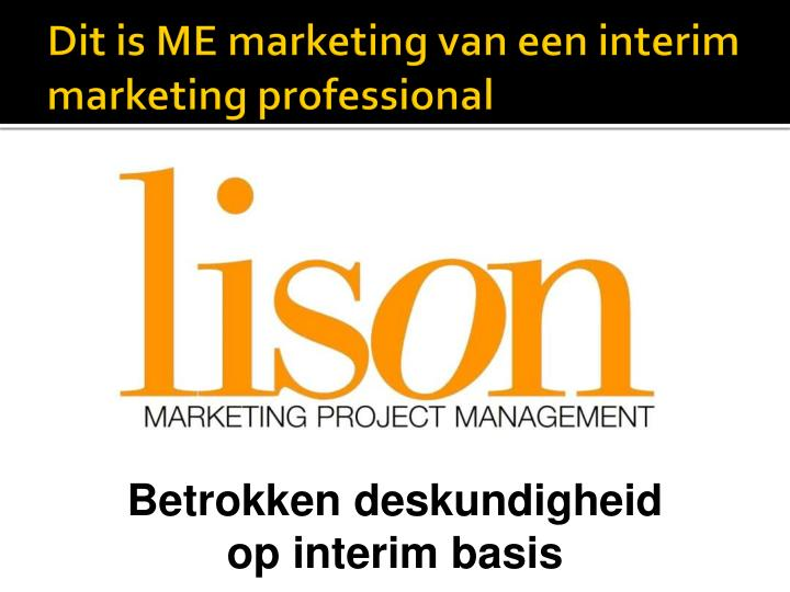 Dit is me marketing van een interim marketing professional