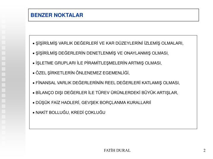 BENZER NOKTALAR
