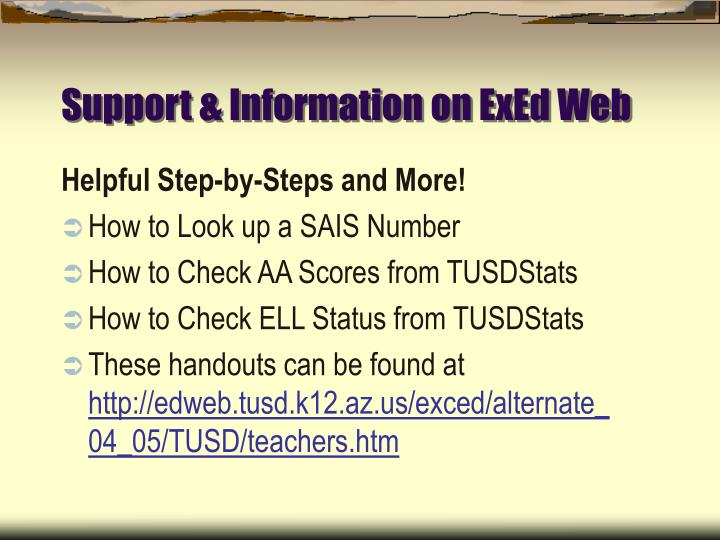 Support & Information on ExEd Web