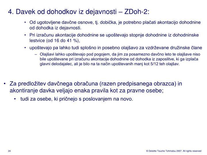 4. Davek od dohodkov iz dejavnosti – ZDoh-2: