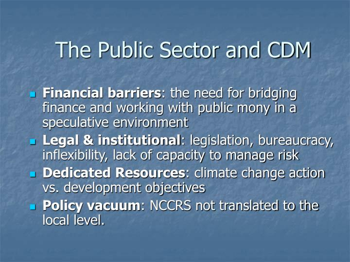 The Public Sector and CDM
