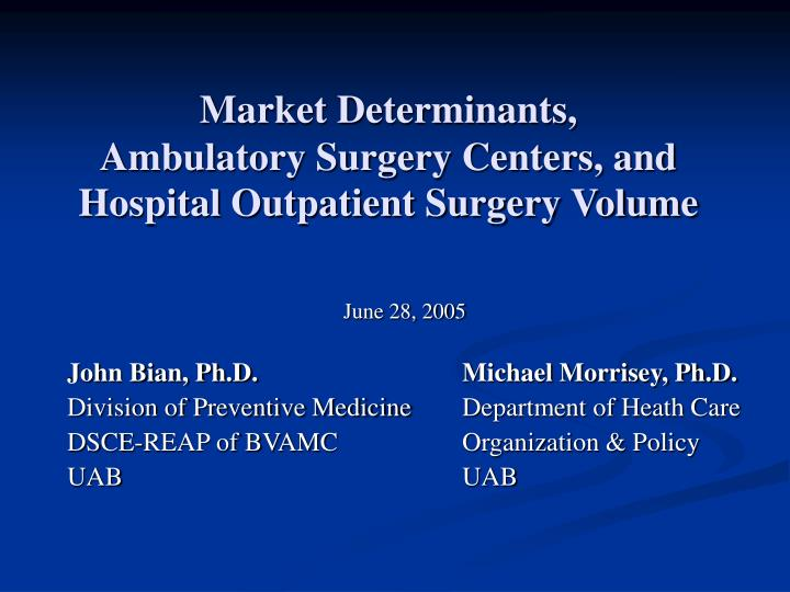 Market determinants ambulatory surgery centers and hospital outpatient surgery volume