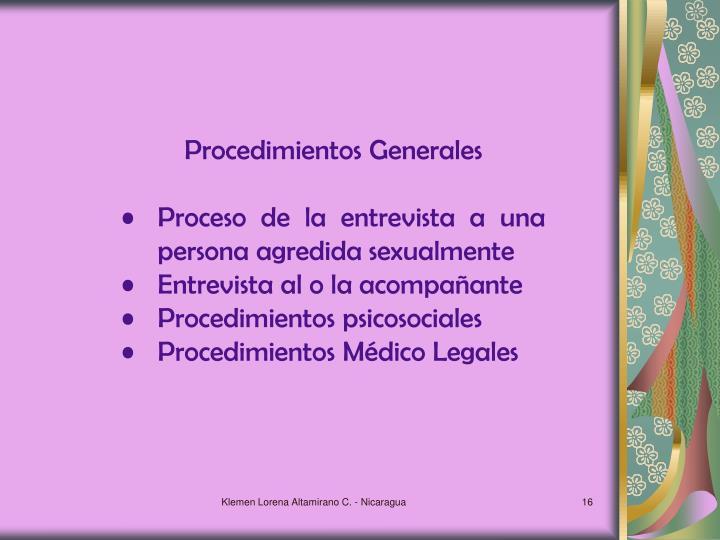Procedimientos Generales