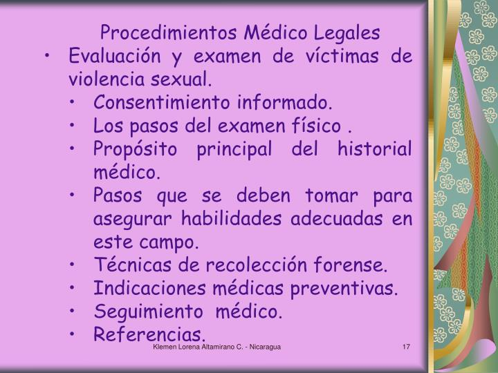 Procedimientos Médico Legales