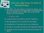 first ever legal action on risks of nanotechnology