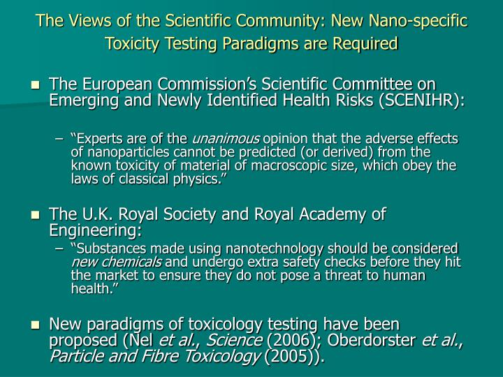 The Views of the Scientific Community: New Nano-specific Toxicity Testing Paradigms are Required