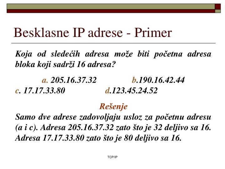 Besklasne IP adrese -