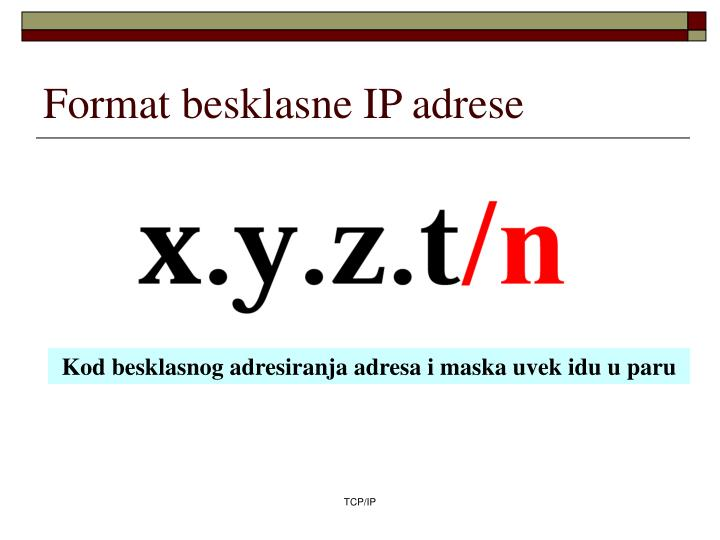 Format besklasne IP adrese