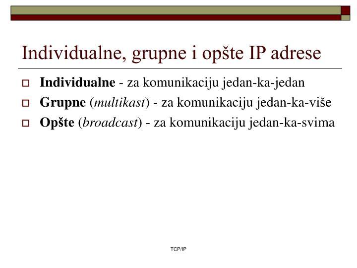 Individualne, grupne i opšte IP adrese