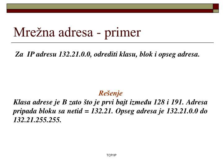 Mrežna adresa - primer
