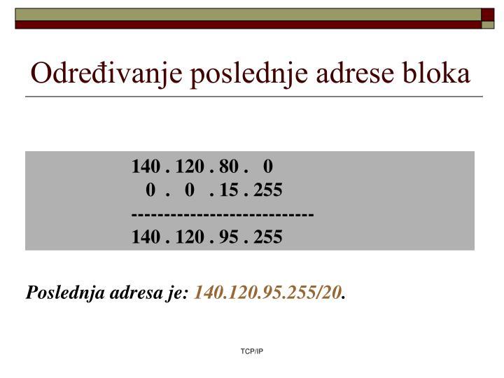 Određivanje poslednje adrese bloka