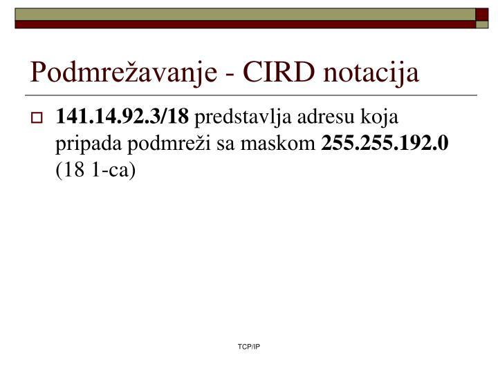 Podmrežavanje - CIRD notacija