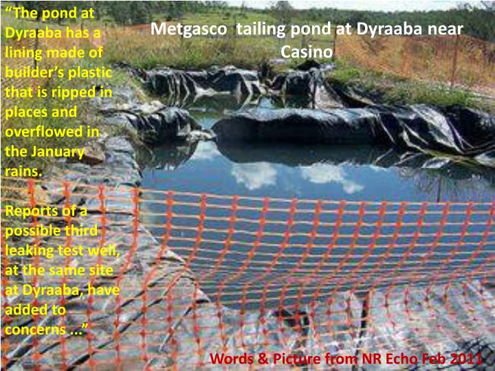 """The pond at Dyraaba has a lining made of builder's plastic that is ripped in places and overflowed in the January rains."