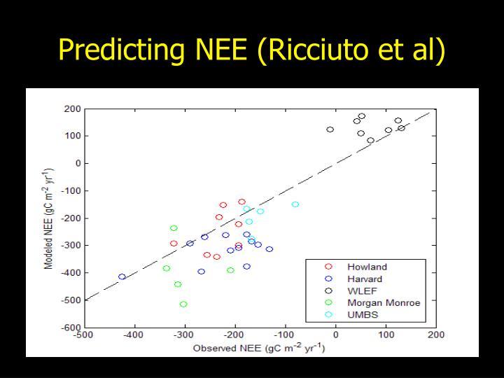 Predicting NEE (Ricciuto et al)
