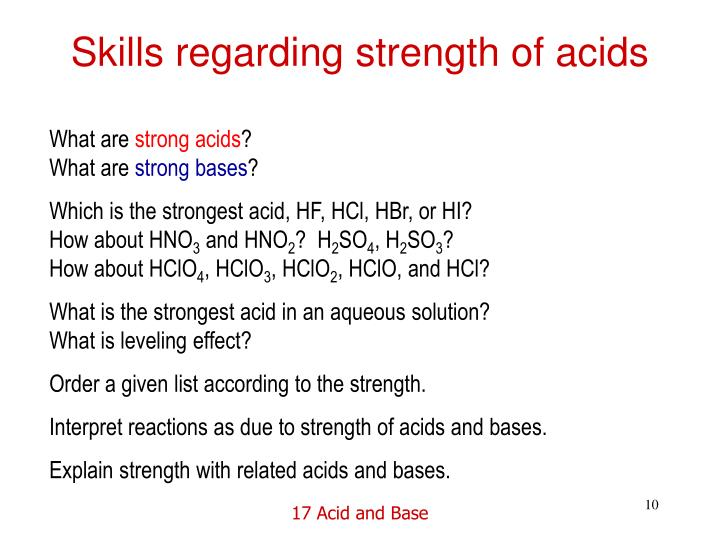 Skills regarding strength of acids