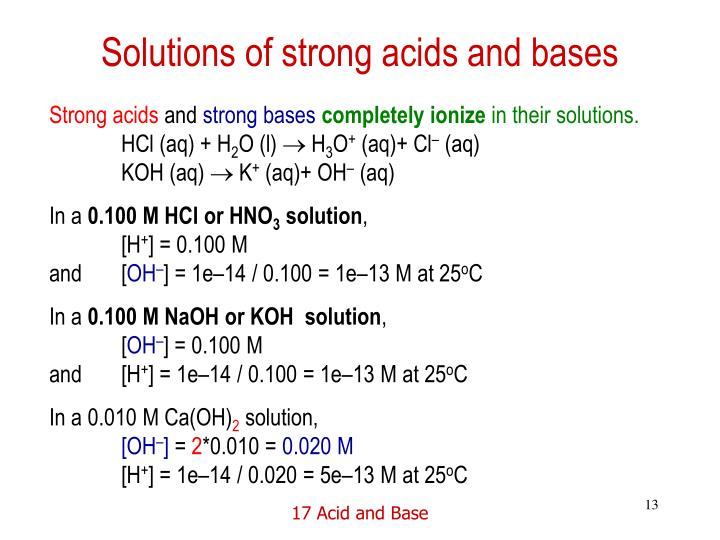 Solutions of strong acids and bases