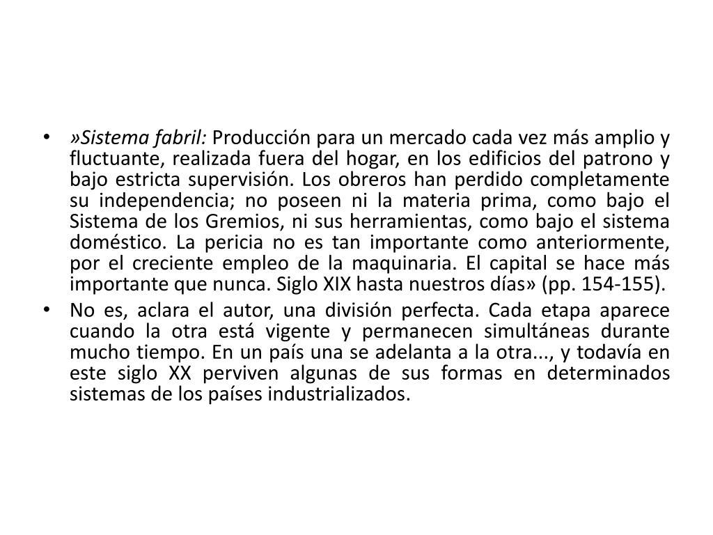 »Sistema fabril: