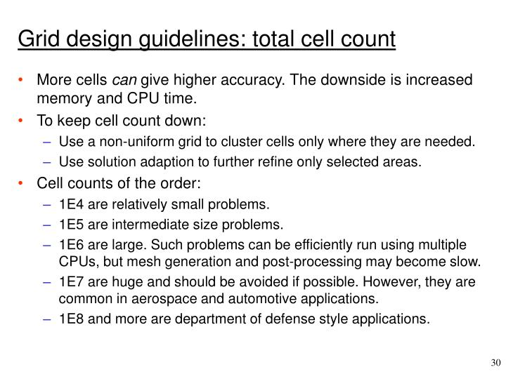 Grid design guidelines: total cell count