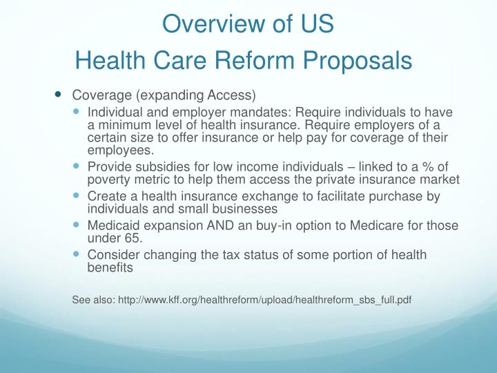 Overview of us health care reform proposals2
