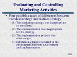 evaluating and controlling marketing activities