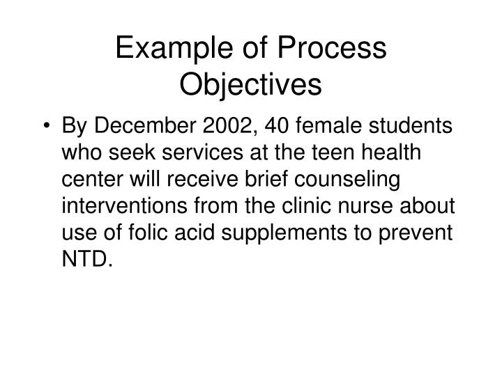 Example of Process Objectives
