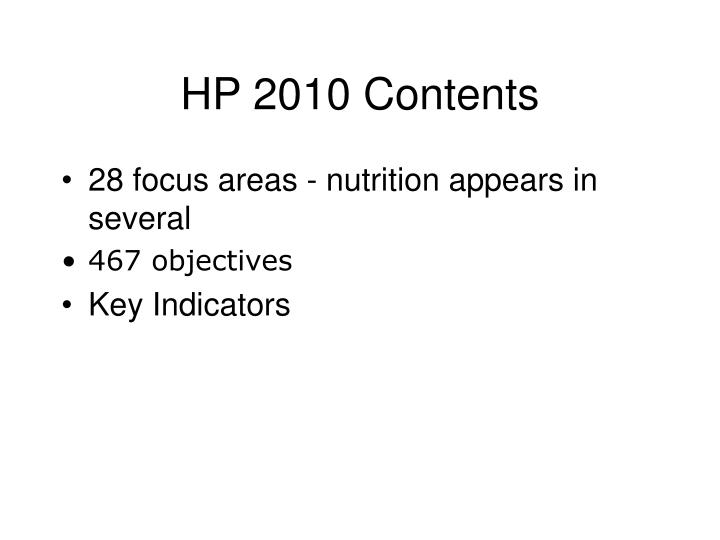 HP 2010 Contents