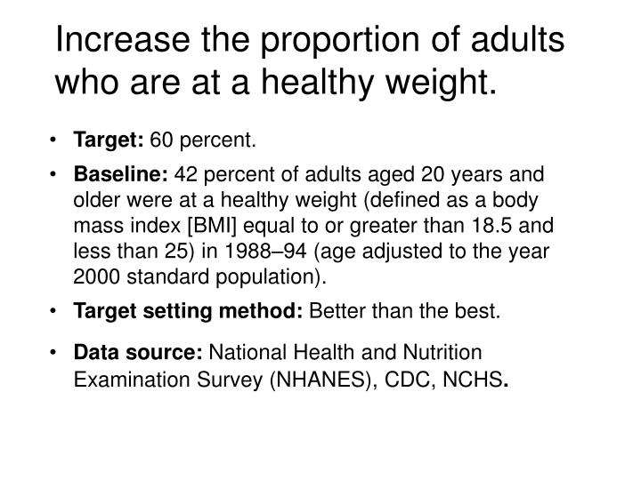 Increase the proportion of adults who are at a healthy weight.