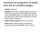 increase the proportion of adults who are at a healthy weight