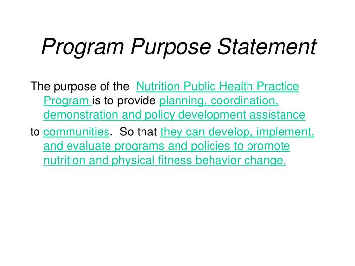 Program Purpose Statement