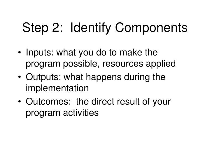 Step 2:  Identify Components