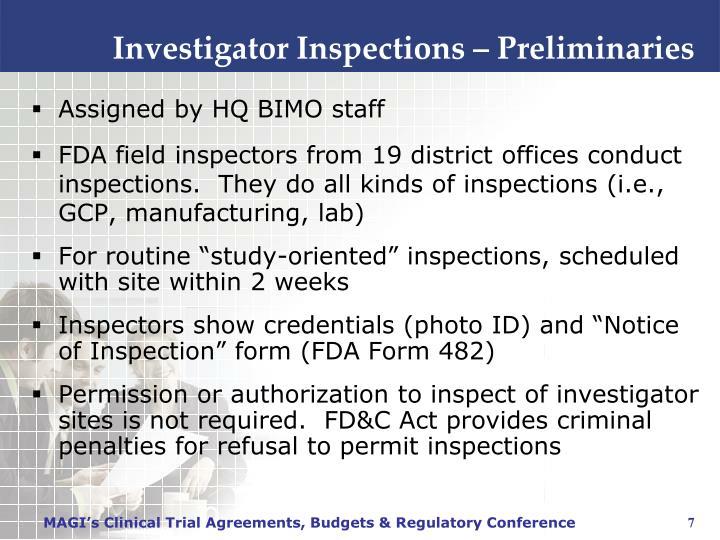 Investigator Inspections – Preliminaries