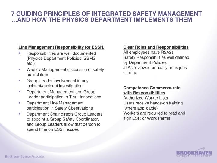7 guiding principles of integrated safety management and how the physics department implements them